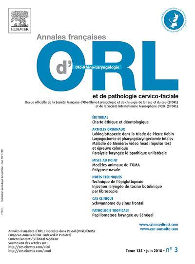Annales Francaises D Orl Et De Pathologie Cervico Faciale (photo)