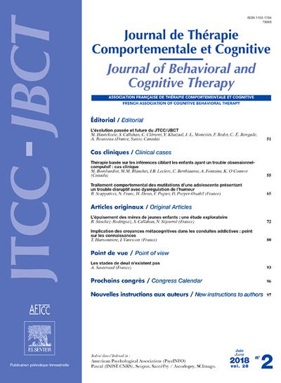 Abonnement Journal De Thérapie Comportementale Et Cognitive