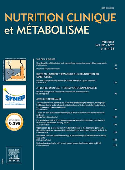 Nutrition Clinique Metabolisme - N°202001