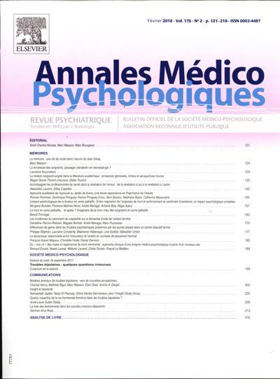 Abonnement Annales Medico Psychologiques