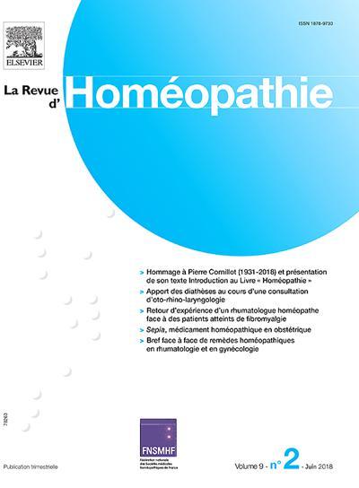 Abonnement La Revue D'Homeopathie